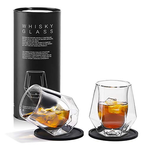 Whiskey Glasses Set of 2 – Hand Blown Double Walled Glass, Thick Rocks Glasses with Premium Gift Box – Perfect for…