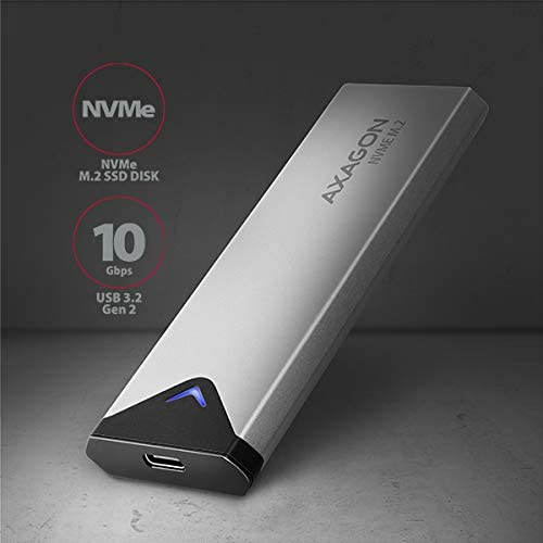 AXAGON EEM2-UG2 USB-C 3.1 - NVME M.2 Box. Caja Externa SuperSpeed+ USB-C para Discos Duros SSD M.2 NVMe de 42 a 80 mm.: Amazon.es: Informática