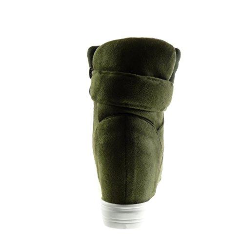 Angkorly - Chaussure Mode Basket Compensée montante plateforme effet vieilli femme lanière Talon compensé plateforme 8 CM - Vert