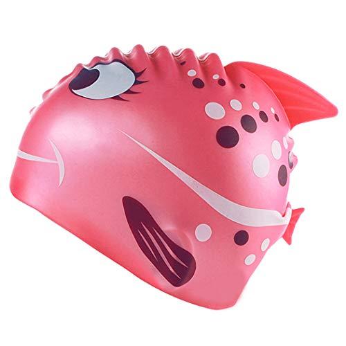 (Kids Swimming Cap, Cute Silicone Swim Caps for Kids Boys & Girls - Shark Minnows Shape Fun Design)