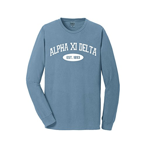 Sorority Letters Shop Alpha Xi Delta Long Sleeve Vintage Tee (Unisex M, Mist)
