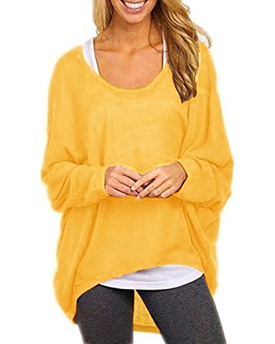 Baggy Crop (Yidarton Womens Summer Casual Shirts Oversized Baggy Off-Shoulder Long Sleeve Tops Yellow Small)
