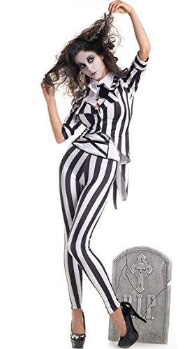 Women's Graveyard Ghost Costume, Black/White, S, M, L, XL