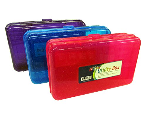 Set of 3 GLITTER Utility Storage Box for School Supplies or Arts & Crafts 8'' x 5'' x 2.5'' by Northland Wholesale