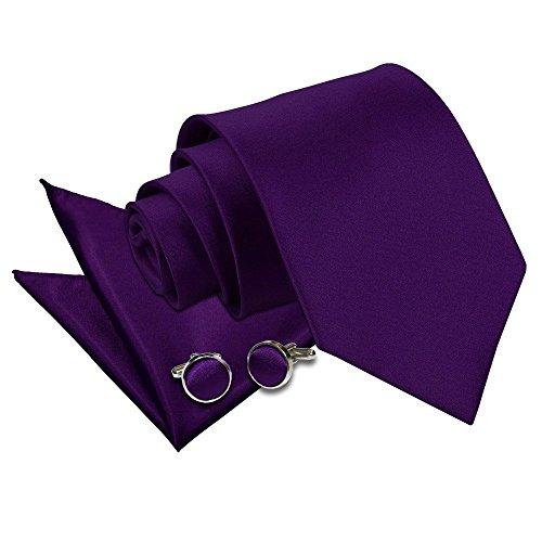 Classic Square Cufflinks (Premium Satin Plain Solid Purple Men's Classic Standard 9cm Tie, Handkerchief Pocket Square Hanky and Cufflinks 3 pc. Matching)