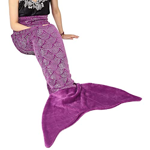 LANGRIA Mermaid Tail Blanket for Adults and Children Soft Warm All Season Snuggle Sleeping Life-Like Little Mermaid Glittering Flannel Throw Blanket for Bed Sofa Couch (60 x 25 inches, Dark Purple)