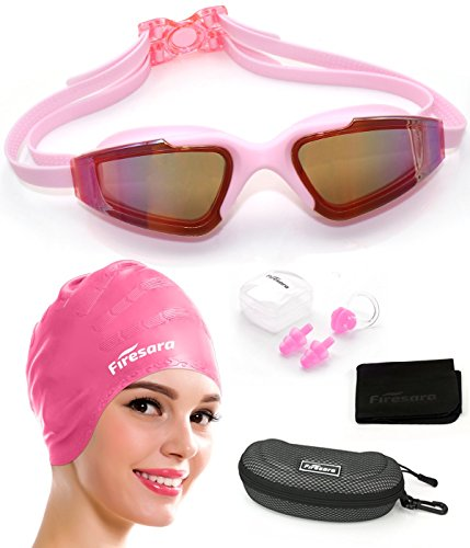 Swim Cap Swimming Goggles, Firesara Swimming Cap for Long Hair Swimming Glasses Anti Fog UV Protection for Adults Youth Men Women Boys Kids with Nose Clip Ear Plugs Sets - Frames Long Glasses For Nose