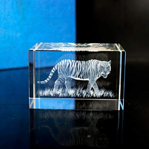 TUKURIO Tiger Image Sculpture 3D Laser Engraved Cube Crystal Festival Gift to Remember That You Love Each Other