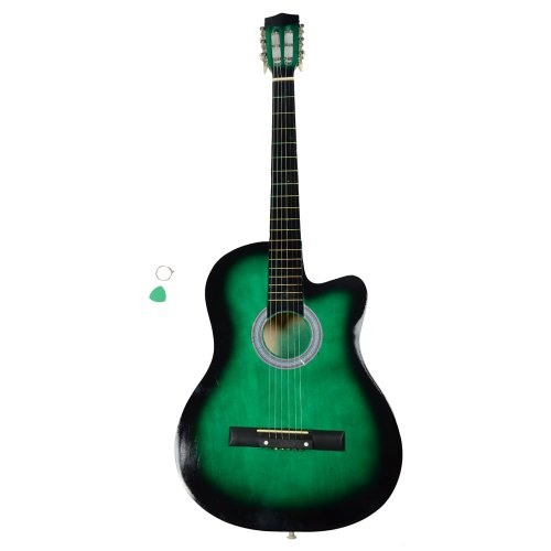 New 38 Inch Cutaway Acoustic Guitars with Guitar Plectrum Green 38' Acoustic Cutaway Guitar