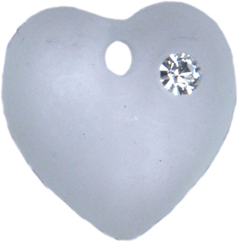 Vintage Swarovski Frosted 10mm Heart #6221 with 'Diamond