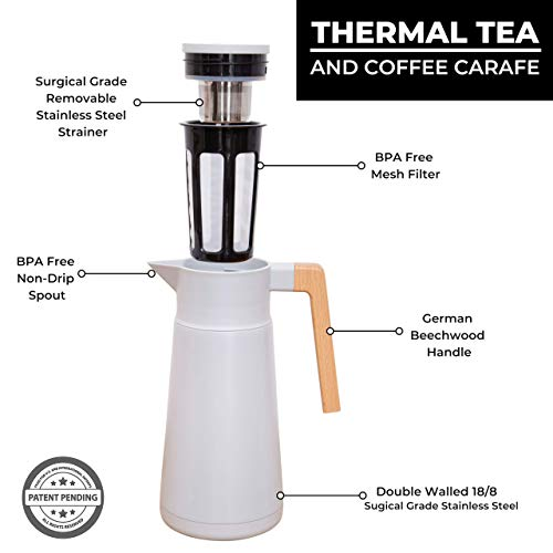 Large Thermal Coffee Carafe - Stainless Steel, Double Walled Thermal Pots For Coffee and Teas by Hastings Collective - Gray, Vacuum Carafes With Removable Tea Infuser and Strainer   68 Oz. by Hastings Collective (Image #5)