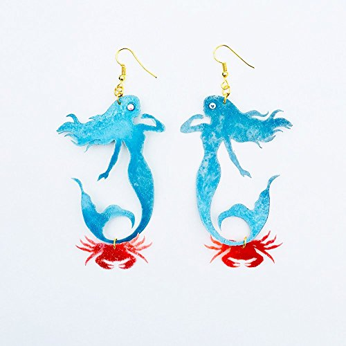 Mermaid amp crab earrings  Mermaid earrings  Under the Sea  Mermaid jewel  90#039s fishy earrings  Pearl ocean fashion jewelry  Ariel
