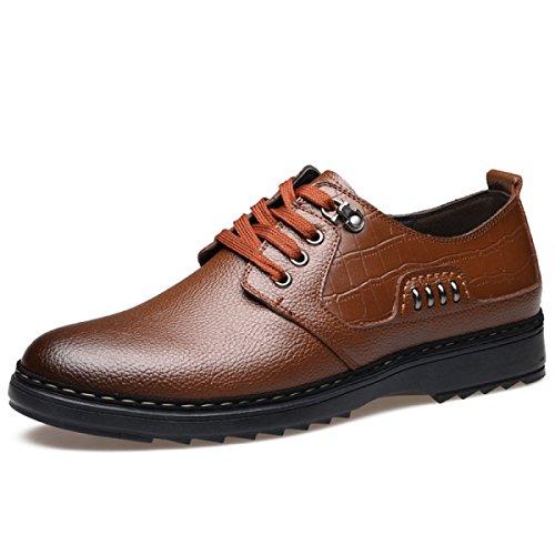 GRRONG Zapatos De Cuero De Los Hombres De Cuero Genuino Negocios Ocio Negro Marrón Brown