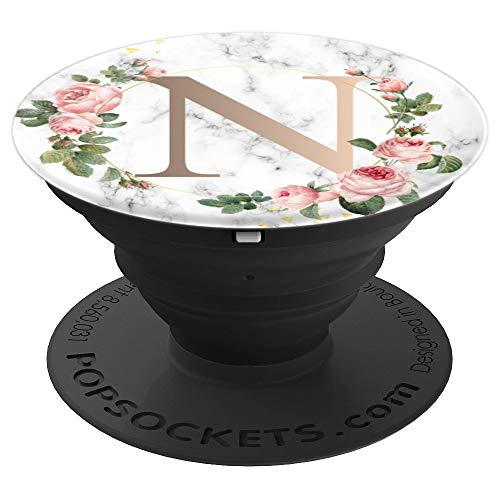 Golden Rose N Monogram Letter Pink Flowers Gift For Mom - PopSockets Grip and Stand for Phones and Tablets -