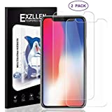 EXZLLEN iPhone Xs/X Screen Protector, 2 Pack Ultra Slim Tempered Glass Film Screen Protector Compatible with Apple iPhone X, iPhone Xs - 5.8 inch