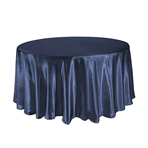 COOCOl 1Pcs Satin Tablecloth 57''90''120'' for Wedding Birthday Party Table Cover Round Table Cloth Home Decor,Navy Blue,108Inch-275Cm]()
