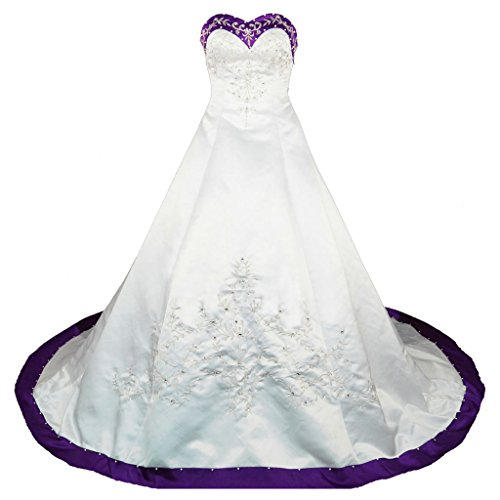 RohmBridal Sweetheart A-line Wedding Dress Bridal Gown Size 18 Ivory Purple