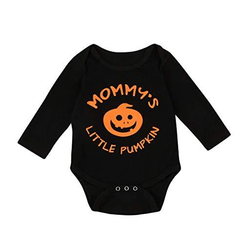 Sameno My First Halloween Pumpkin Jumpsuit Infant Baby Boys Girls Halloween Pumpkin Long Sleeve Romper Clothes (Black, Height:100cm (12-18 Months)) (Black, 12-18 Months) -