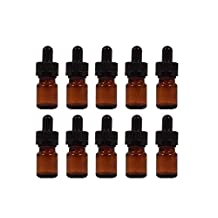 5ml Amber Glass Bottle with Dropper - Perfume Studio® Real Amber Glass Eye Dropper Bottles with 20/400 Closure & 1.5 inch Child Resistant Glass Pipette. (10) by Perfume Studio