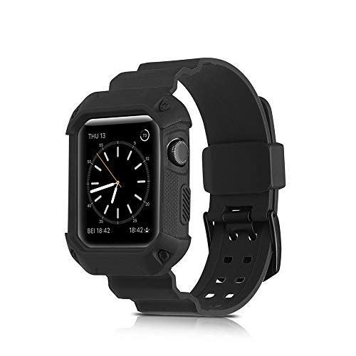 (Cywulin Sport Band for Apple Watch 38mm 42mm Soft Silicone Wrist Strap Replacement Loop with Shock Resistant Rugged Bumper Protective Case Compatible iWatch Series 3 Series 2 Series 1 (38mm, Black))