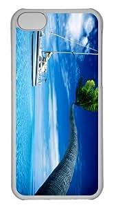 case thinnest Sailing Palm Ocean PC Transparent case for iphone 5C