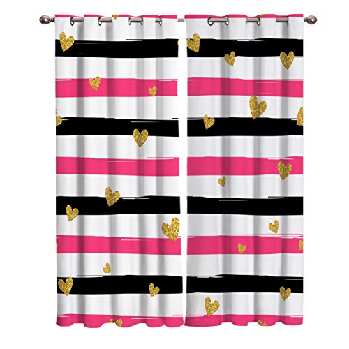Crystal Emotion Blackout Curtain Window Drapes Thermal Insulated Curtains 2 Panels, Pink Stripe Gold Heart Love Room Darkening for Living Room Bedroom Window Treatments 27.5x39 inch