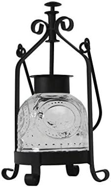 オイルランプレトロヴィンテージ錬鉄ガラス防風燭台北欧のキャンドルライトディナーデコレーションオーナメントポータブルキャンドルランタン