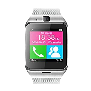 "Relojes inteligentes - TOOGOO(R) 1.5"" Aplus GV18 Relojes inteligentes Bluetooth 3.0 SMS Llamada Reloj Inteligente Pantalla Tactil Technologia de Resolucion de 240 x 240 CPU de 533 MHZ MTK6260A Soporta y Tarjeta de TF hasta 32 G-Plata"