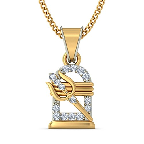 Or jaune 18K 0.11CT TW Round-cut-diamond (IJ | SI) Pendentif