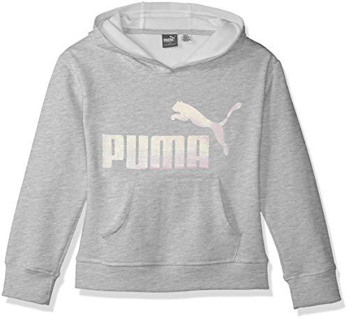 PUMA Girls' Big Fleece No. 1 Logo Hoodie, Light Heather Gray, M