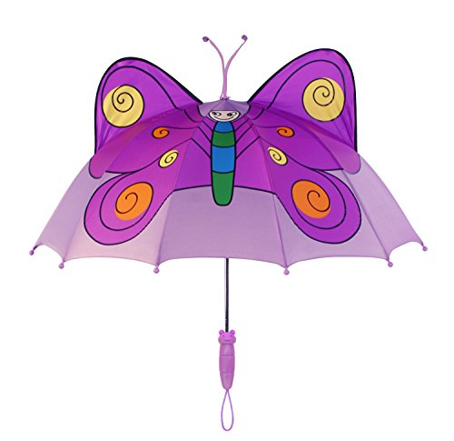 Kidorable Purple Butterfly Umbrella for Girls w/Fun Butterfly Handle, Pop-Up Wings, Antennae, 1 Size by Kidorable