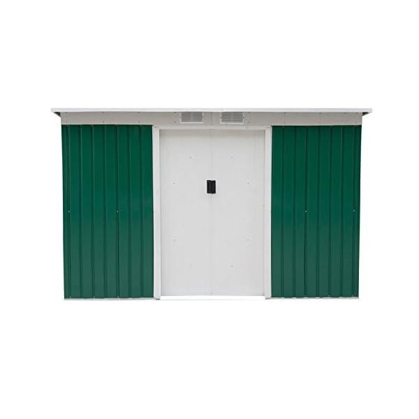 Outsunny-9-x-4-Outdoor-Metal-Garden-Storage-Shed-GreenWhite