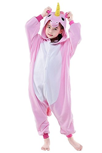 Vivimeng Girls Onesies Unicorn Pyjamas Anime Cosplay One Piece Halloween Costume New Pink Kids-5