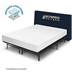 "Best Price Mattress 8"" Comfort Premium Memory Foam Mattress & Bed Frame Set, Full"