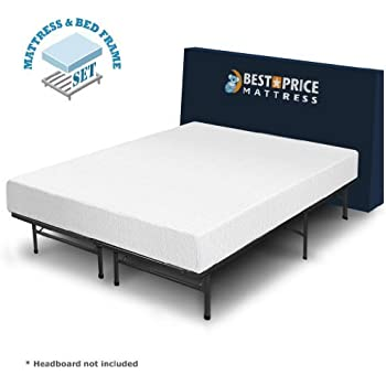 best price mattress 8 comfort premium memory foam mattress and bed frame set twin. Black Bedroom Furniture Sets. Home Design Ideas