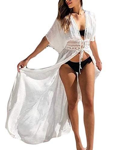 (Ailunsnika White Short Sleeve See Through Long Kimono Drawstring Waist Open Front Swimwear Cover up for Women)