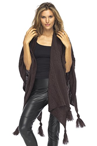 Back From Bali Womens Cable Knit Wrap Shawl Poncho Sweater Boho Long Soft Tassel Fringe Brown