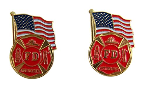 Patriotic US Fire Department American Flag Gold Toned with Enamel Lapel Pin, Pack of 2 -