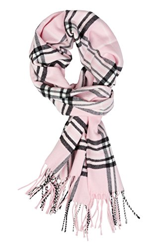 Plum Feathers Super Soft Luxurious Cashmere Feel Winter Scarf (Bright Pink Plaid) (Feather Pastels)