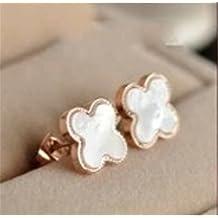 P.phoebus 18K Rose Gold Vintage Lucky Flower Swarovski Crystal Studs Earrings Rhinestones Dangle Charms Hoops For Women Girls (white earrings)