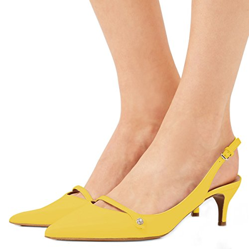 XYD Women Pointed Toe Slingback Pumps Ankle Strap Mid Kitten Heel Slip on Dress Sandal Shoes Yellow Manchester cheap price discount excellent buy cheap good selling buy cheap perfect uzF6j6Np