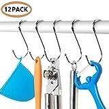 Rustproof Electroplated Metal Rings Hook, Closet/Kitchen/Bathroom/Office Hanging Hooks, Shower Curtain Silver Chrome Finish S-Hooks, Set of 12 Hooks (120mm)