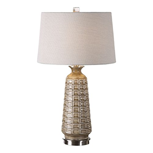 Neutral Pattern Light Earth (Embossed Brown Tan Ceramic Lattice Pattern Table Lamp | Mid Century Modern)