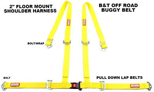 (Racerdirect Off Road 4 Point SEAT Belt Race Harness Pull Down Lap Belts Floor Mount Bolt in)
