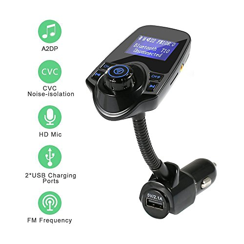 Bullker Bluetooth FM Transmitter, Wireless In-Car Bluetooth FM Transmitter Radio Adapter Car Kit with 1.44 Inch Display and USB Car Charger