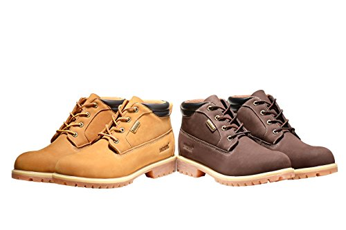 Jacata Men's Low-Cut 3 Inch Work Boots Water Resistant Boots Heavy Duty Natural Rubber Blend Soles