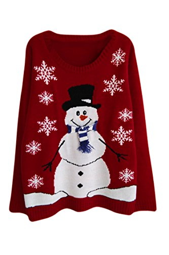 Cutiefox Women's New Knitted Christmas Sweater Novelty Tunic Warm Snowman Size - Delivery Free Hm