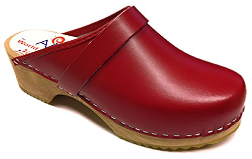 AM-Toffeln 100 Swedish Wooden Clogs in Red leather - Size 38