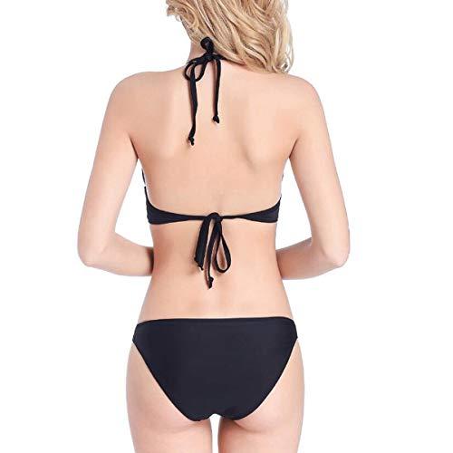 Swimsuit Fashion Straps Size Bikini color Fortr Cuciture Xl In Pizzo Home Con Black 5w6Exqg