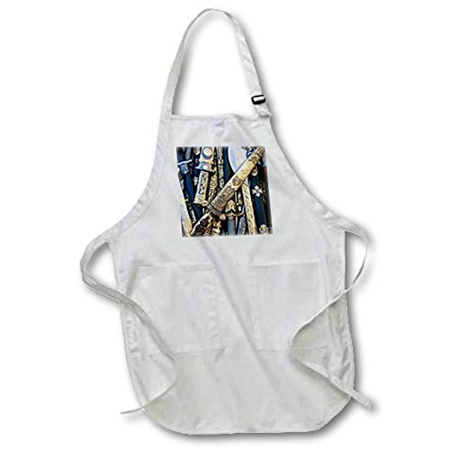 3dRose Alexis Photography - Objects Cold Steel - Cold steel arms in a pile, metal decorated scabbards - Full Length Apron with Pockets 22w x 30l (apr_271888_1)